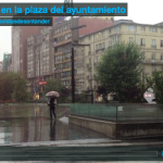Llueve en la plaza del ayuntamiento