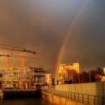 El arco iris se asoma a ver las obras del Centro Botín