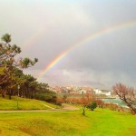 Un arco iris fragmentado en tres fotografías