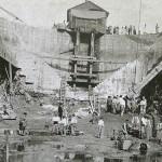 El dique de Gamazo en construcción