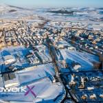 Reinosa totalmente nevada a vista de dron