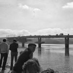 Las obras de construcción del puente que une Pedreña y Somo