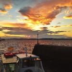 Los cielos de sur de un amanecer de lunes sobre la bahía de Santander