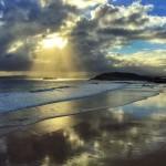 El sol dispara a la isla de Mouro