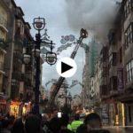 Aparatoso incendio en la calle Burgos, encima de la librería Estudio