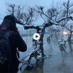 Nevando en la bahía de Santander