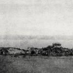 La isla de Los Ratones con una tienda de campaña en 1861