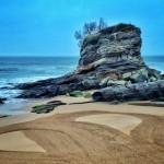 Un corazón de arena pintado al amanecer