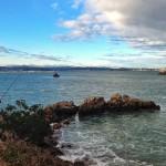 De pesca con los Picos de Europa como telón de fondo