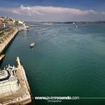 La bahía, el muelle Calderón, el palacete del Embarcadero a vista de dron