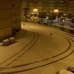 Marcas sobre la nieve en el Barrio Covadonga de Torrelavega