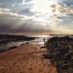 A pie de playa en bajamar