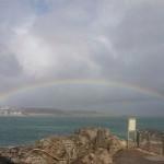 Los pingüinos de la Magdalena hipnotizados por un arco iris al completo