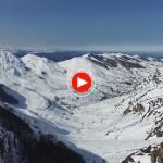 El Puerto de Lunada bien nevado y a vista de dron