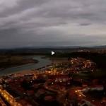 Atardecer en la playa de La Concha en Suances a vista de dron