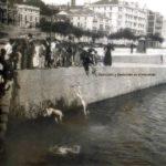 Los raqueros se tiraban en porretas desde la rampa de Puertochico. Año 1900