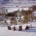 Bonita nevada en el sur de Cantabria