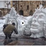 Esculturas de nieve en Reinosa. El arte efímero de Roberto Javid