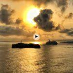 Así hacia hoy la entrada el crucero Oriana en la bahía más bonita, la de Santander
