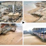 Así está dejando el Sardinero el último temporal que estamos sufriendo… Se ha llevado mucha arena