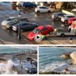 La grúa retira los vehículos del paseo del Chiqui para protegerlos del temporal marítimo