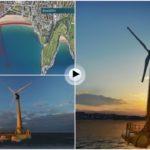 Un molino eólico a 800 metros de las playas del Sardinero