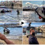 Así fue la maniobra de recuperación del bote hundido en Puertochico